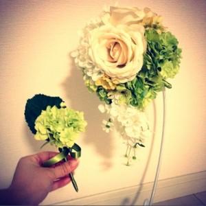 夏のアンティークカラーのブーケ白い小花2