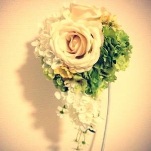 夏のアンティークカラーのブーケ白い小花