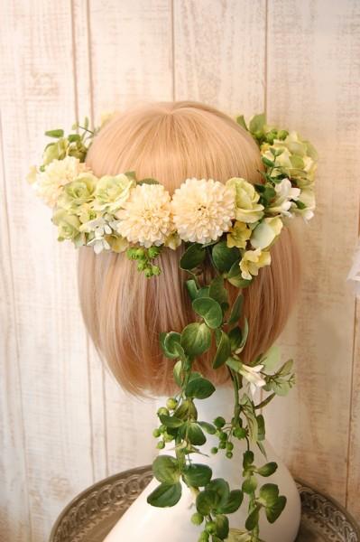 花冠教室ナチュラルグリーンテイストな花冠