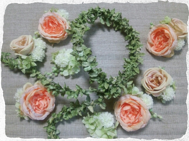 柔らかなオレンジピンクの花冠製作されたY様のご紹介ブログ