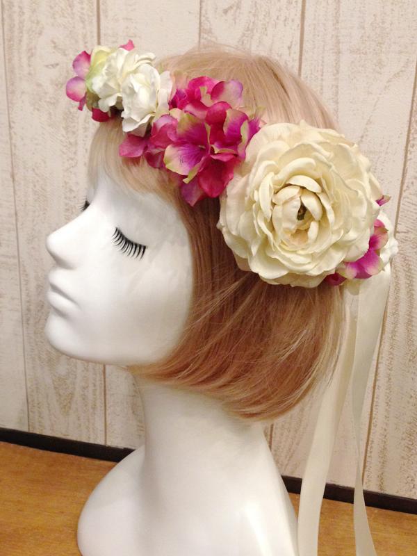 ホワイト×ポイントカラー花冠